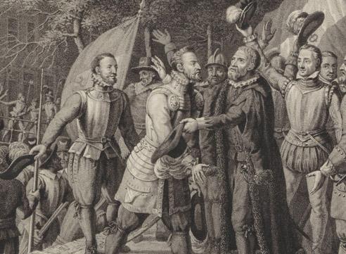 Boisot omhelst de illustere voorganger van Lenferink, burg. Van der Werff, na Leidens ontzet, afb. Rijksmuseum
